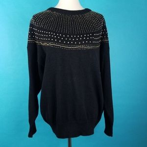 Vintage 80s Sweater Black Gold Sequin Beaded Plus